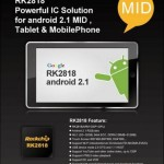 Rockchip is launching RK2818 Android 2.1 chip for tablets and mobile phones