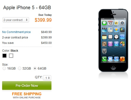 Pre-order for iPhone 5 on AT&T and Verizon Wireless ...