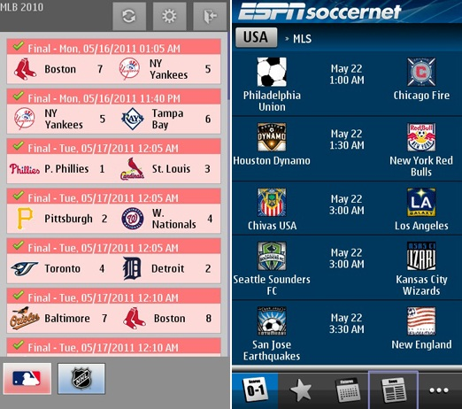 Score Now! app for Symbian display the results for US sports NHL, NBA, MLB, NFL and MLS