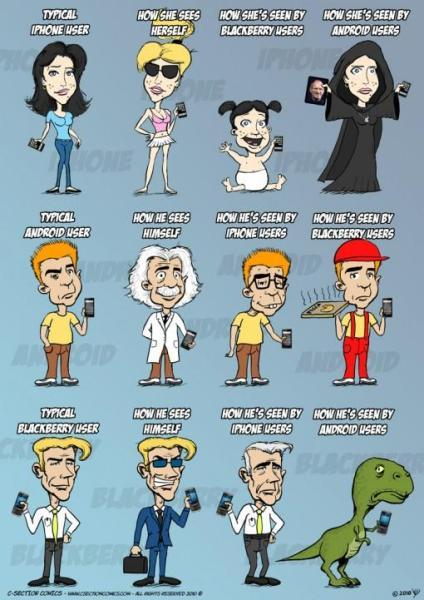 Comics Android vs iPhone vs BlackBerry