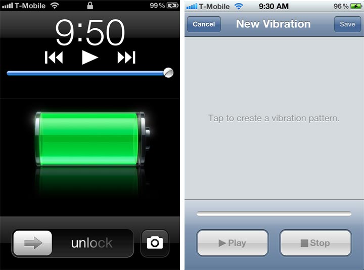 Two tricks in iOS 5: enable Camera app in lockscreen and Custom Vibrations