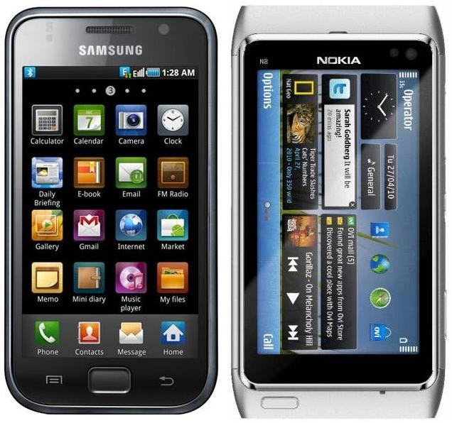 Samsung I9000 Galaxy S and Nokia N8